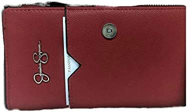 Jessica Simpson Women's Vacay Mode Passport Holder/Travel Wallet with a gift box (Carnelian)
