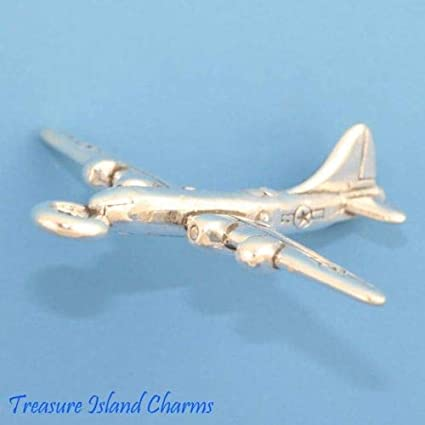 Sterling Silver 3-D B-17 Airplane Charm