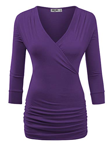 (Lock and Love Womens 3/4 Sleeve Wrap Front Drape Top XL Dark_Purple )