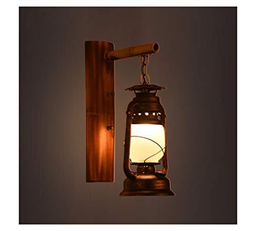 SGKJJ Retro Nostalgic Wrought Iron Bamboo Personality Creative Lanterns Gamma Bar Antique Aisle Balcony Wall Lamp -357Wall Lamps & Sconces