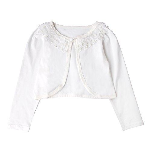 Price comparison product image Acecharming girls Beaded Flower Bolero Jacket Shrug Short Cardigan Dress Cover Up,Cream White,6-7