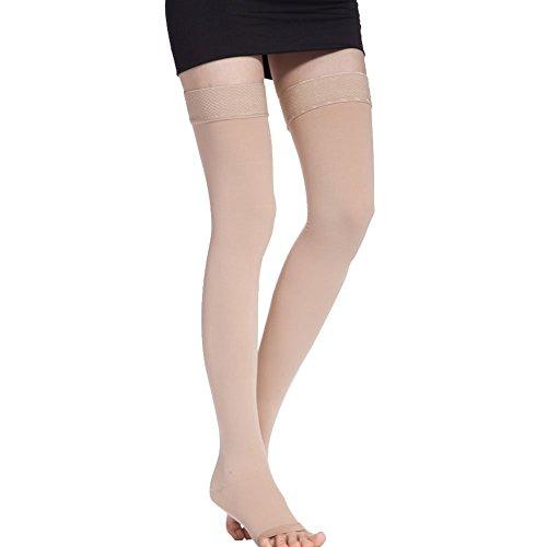 CTKcom Compression Stockings-Thigh High Microfiber Open Toe Medical Tight Socks 20-30mmHg,Beige,Small