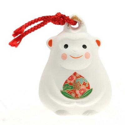 Kotobuki Clay Bell/ornament, Lucky Monkey,white#830-688 -