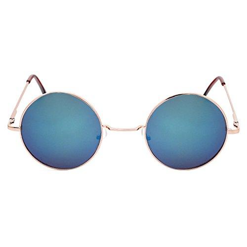 Steampunk Vintage Rond Reflective 70S Or soleil Lunettes de Blue 60S Cadre MEIHAOWEI wHxgq7g