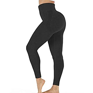 Women's Butt Lift Workout Leggings Seamless High Waist Yoga Pants Running Tummy Control Slimming 4 Way Stretch Fitness Black