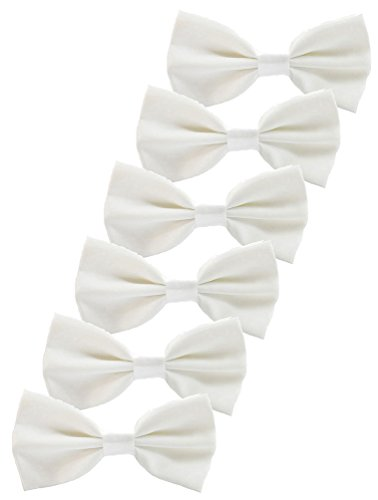 White Solid Bowties - Udres 6 Pack Solid Bow Tie Satin Pre-tied Bowtie for Wedding Party (One Size, White)