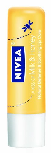Nivea Lip Care A Kiss Of Milk and Honey Natural Defense, 0.17 oz. (Pack of 6)