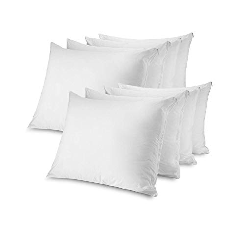 Mastertex Zippered Pillow Protectors Standard 8 Pack | 100% Cotton Breathable Pillow Covers | Protects from Dirt, Dust & Allergens | Hypoallergenic & Quiet (Standard - Set of 8-20x26)