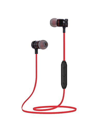 Bluetooth Headphones Wireless Sports Earbuds Sweatproof Headset Magnetic attraction Stereo Earphones for Running Workout Gym Noise Cancelling Proshine(Red)