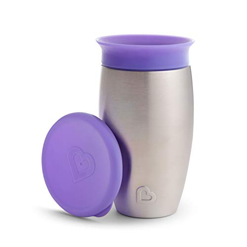 Munchkin Miracle Stainless Steel 360 Sippy Cup, 10 Oz, Purple