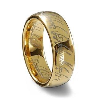 RINGS 4U 18K G Plated Elvish Script Tungsten Carbide Unisex Laser Etched Wedding Ring