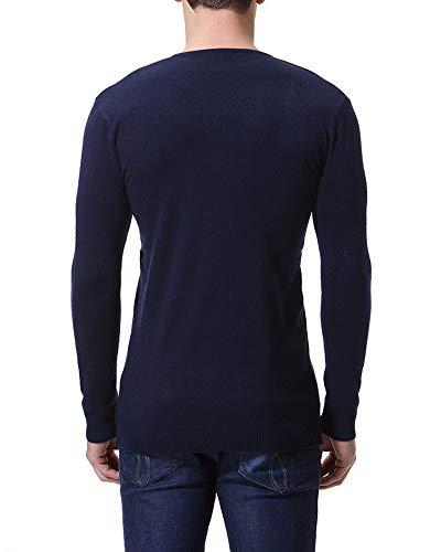 V Marino collo Blu Slim Uomo Caldo Lunga Maglione Maglieria Fit Pullover Casual Manica 7CRtqSxw