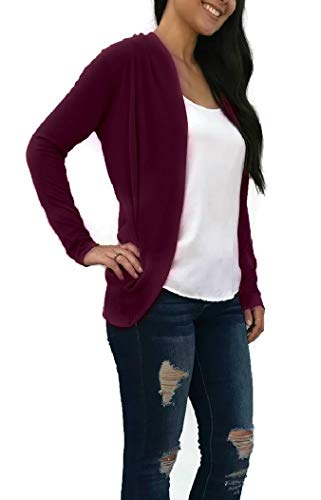 Womens Open Front Lightweight Knit Cardigan Sweater High-Low Long Sleeve, Burgundy, L