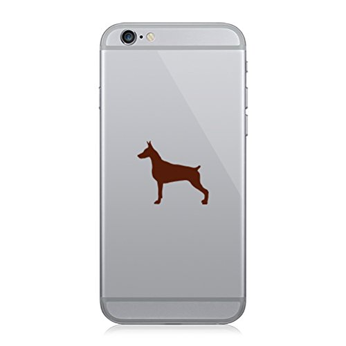 RDW Pair of Doberman Pinscher Cell Phone Stickers Mobile Dog Canine pet - Brown