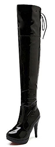 IDIFU Women's Sexy Stiletto High Heels Platform Zipper Lace Up Long Over Knee High Boots Black 8 B(M) US (Patent Platform Thigh High)