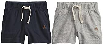 BabyGap Gap 2-Pack Mix and Match Pull-On Baby Shorts, Grey and Navy, 12-18 Months