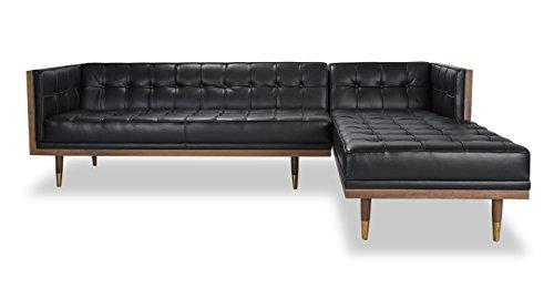 Kardiel Woodrow Midcentury Modern Box Sofa Sectional Right, Black Aniline Leather/Walnut