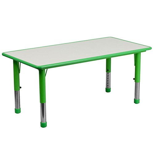 Flash Furniture 23.625''W x 47.25''L Rectangular Green Plastic Height Adjustable Activity Table with Grey Top (Steel Plastic Table Activity)