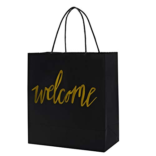 Breeze Talk Black Gold Welcome Bags Set of 12 for Wedding Party Gift Bags for Hotel Guests, Weekend Destination Wedding Favors (Gifts For Out Of Town Wedding Guests)