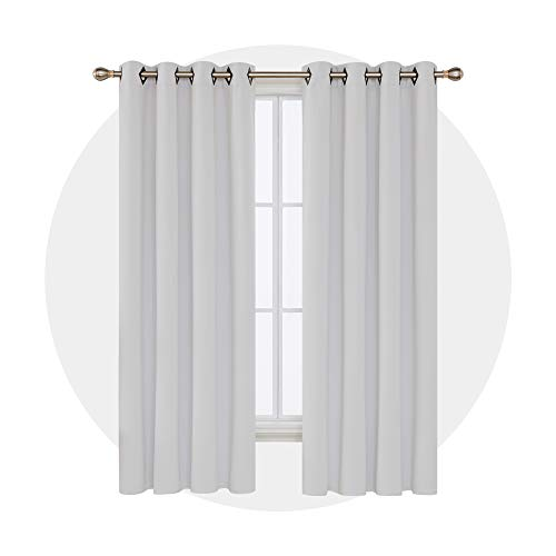 Deconovo Grommet Blackout Curtains Thermal Insulated Window Coverings Window Treatments for Bedroom 52W x 84L Inch Platinum 2 Panels