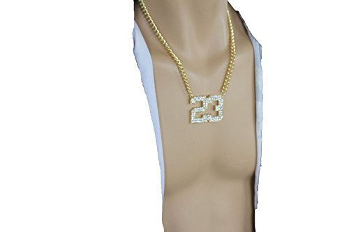 TFJ Men Fashion Necklace Gold Metal Chain # 23 Jordan Bling Pendant Hip Hop Iced Jewelry