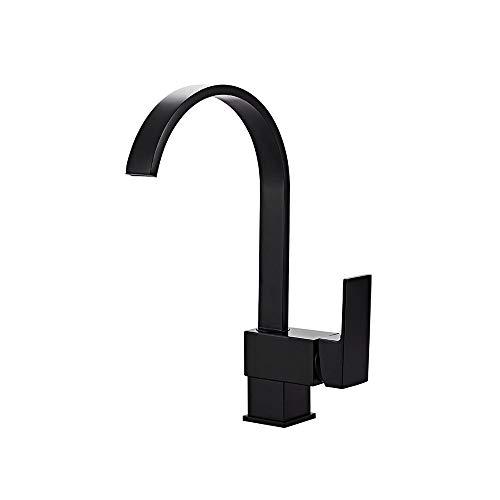(KSDJKLA GFFXIXI Modern Black Single Lever Square Mono Kitchen Sink Mixer Tap Swiveling Spout Kitchen Faucet)