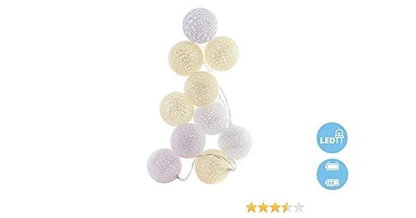 Guirnalda 10 bolas blancas algodon led luz blanca 2 pilas AA 1,5V ...