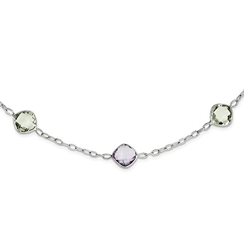 925 Sterling Silver 18in. Purple Amethyst Green Quartz Chain Necklace Pendant Charm Gemstone Fine Jewelry Gifts For Women For Her (Polar Jade Earrings)