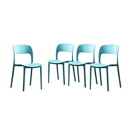 Christopher Knight Home 306520 Dean Outdoor Plastic Chairs (Set of 4), Teal