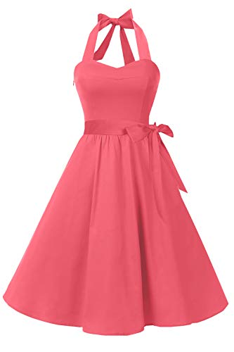(Topdress Women's Vintage Polka Audrey Dress 1950s Halter Retro Cocktail Dress Coral 3XL)