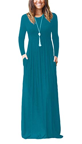 BISHUIGE Women L-4XL Long Sleeve Loose Plain Casual Plus Size Long Maxi Dresses Maternity Dress with Pockets (Acid Blue, L) by BISHUIGE