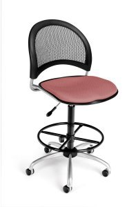 Ofm – Armless Modern Moon Mesh Back Drafting Chair In Coral Pink