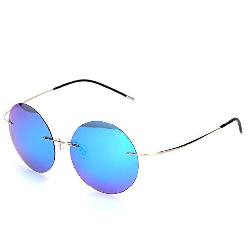 b9711186c9 Lovely wkaijc Hombres Sin Marco Color Película polarizada elegante cómodo  redondo caja Yurt Gafas de sol