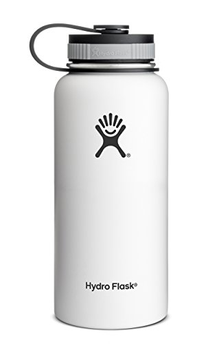 Hydro Flask Insulated Wide Mouth Stainless Steel Water Bottle, Arctic White, - Beer Stove Can Camp