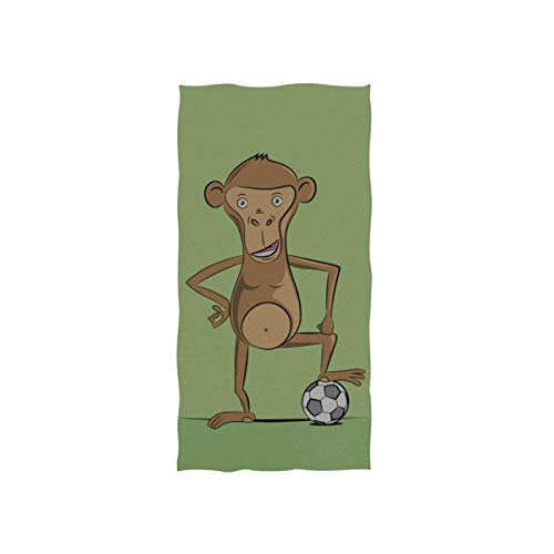 Yagqiny Hand Towels Spa Funny Monkey Soccer Player Towel Personalized Decorative Towels Beach Gym Face Towel Exercise Baby Lady for Car Towels 30 X 15 Inch