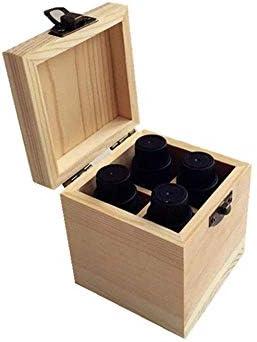 BZM-ZM 4スロット品質の木製エッセンシャルオイルストレージボックス(カラー:ナチュラル、サイズ:8X8X9CM)