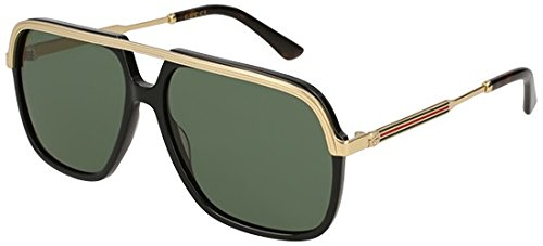 Gucci GG0200S 001 Black/Gold GG0200S Square Pilot Sunglasses Lens Category 3 by Gucci