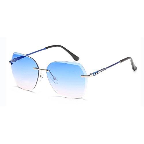 Moolo America Gafas Gafas Gafas UV400 Película Anti de de Powder Silver Europe Frame frame Sra blue Sol Silver Blue Frameless UV Moda Color Antirreflejo Marino de Polarized Sol Metal powder Color de rdrxaq0w5