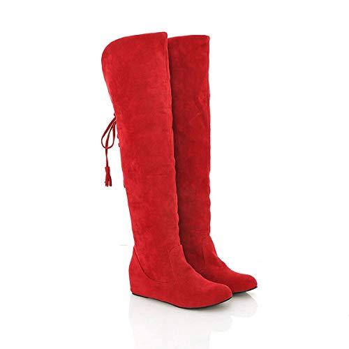 Renforcées Étudiantes Fond Neige Plat À Dépoli Pour En Au Coton Genou Femmes Chaussures Avec D'hiver Hautes De n Bottes Britanniques Rouge Femmes C xqv4Ratw