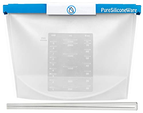 PureSiliconeWare 0.6 Gallon and 0.9 Gallon Reusable Silicone Bags - FREEZE, HEAT, MICROWAVE, STEAM, STORE, SOUS VIDE, Vented or Leak-Proof Closure