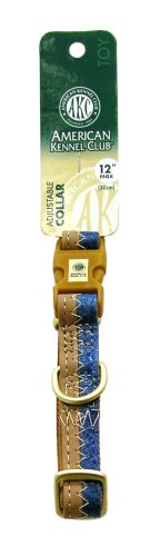 AKC 5/8-Inch by 6-12-Inch Collar Adjustable Toy, Blue/Camel , Small