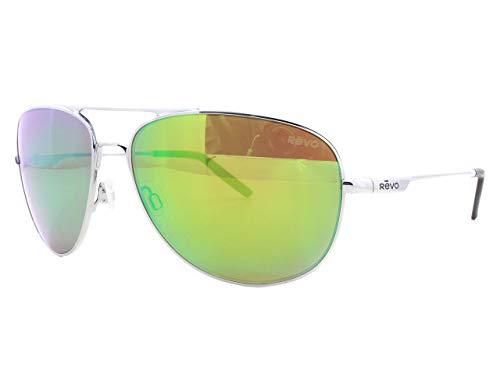 Revo Windspeed RE 3087 Polarized Aviator Sunglasses,Chrome/Green Water,61 mm