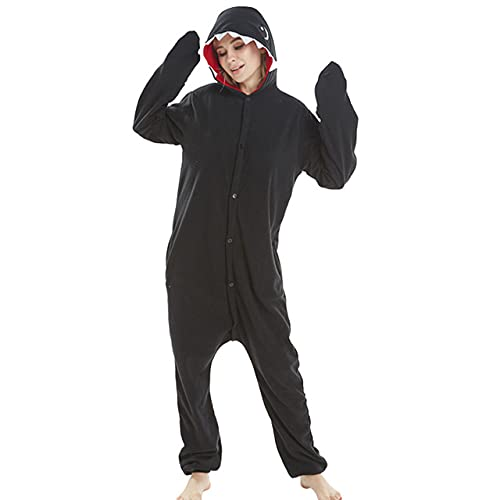 Kigurumis Black Shark Animal Onesie Cartoon Dier Winter Pyjama Vrouwen Volwassen Cartoon Jumpsuit Kostuum Fleece…