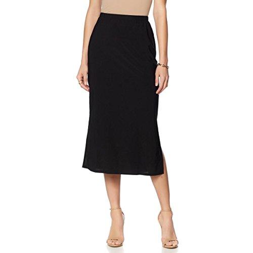 Slinky Brand 2-Piece Knit Maxi Skirts Side Slits Black White 2X New 548-976