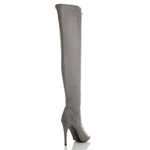 Ajvani Womens Ladies high Heel Stiletto Lace up Zip Club Over The Knee Thigh Boots Size Grey Suede PRZImdoM