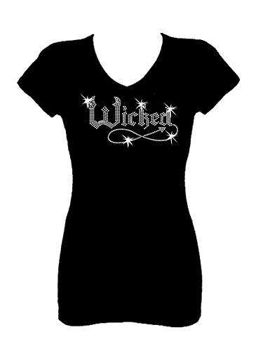 Wicked Halloween Funny Rhinestone V Neck Short Sleeve Tee Shirt (Womens Halloween Bling Shirts)
