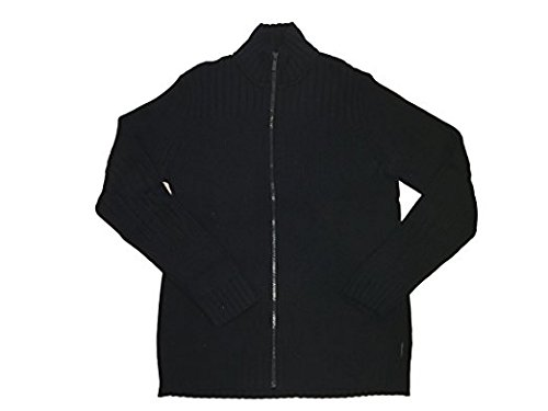 Klein Ribbed Cardigan Calvin (Calvin Klein Cable Knit Ribbed Full Zip Sweater (X-Large, Black))