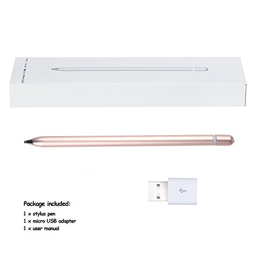 AMPLER Rechargeable Capacitive Stylus Digital Pen for Touchscreens, Touch Active Stylus Pen with 2.0 mm Fine Point Tip for iPad, iPhone, Good for Drawing, Writing - Rose Gold by AMPLER (Image #6)