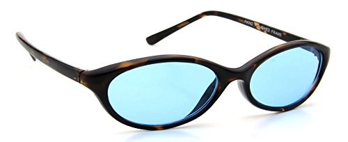 Retro Womens Sunglasses Brown Tortoise Plastic Frame Oval Blue Lens 100% - Touch Sunglasses