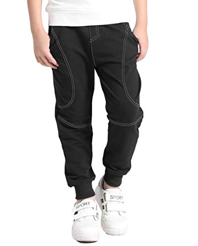 BASELE Boy's Black Fashion Joggers Casual Cotton Sweatpants Slim Fit Athletic Drawstring Pants 8